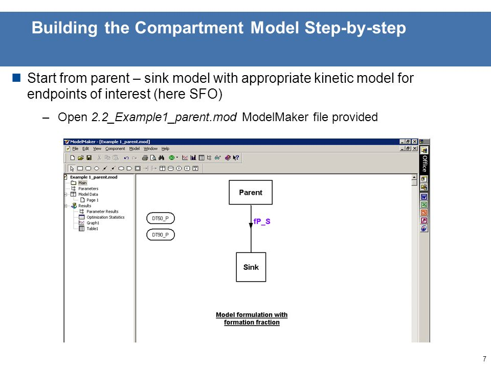 6 Building the Compartment Model Step-by-step Results from yesterdays exercise showed that SFO model was appropriate for both trigger and modeling endpoints for parent We will add metabolite 1 using a model formulation with formation fraction We will follow the stepwise approach to fitting 1.Fix parent parameters and fit metabolite parameters 2.Use fitted parameters as initial values, and fit parent and metabolite parameters together