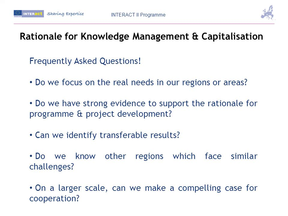 Rationale for Knowledge Management & Capitalisation Frequently Asked Questions.