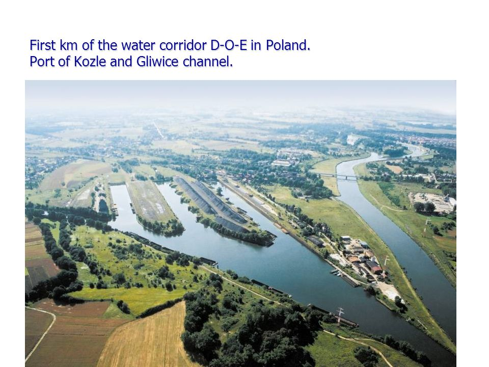 First km of the water corridor D-O-E in Poland. Port of Kozle and Gliwice channel.
