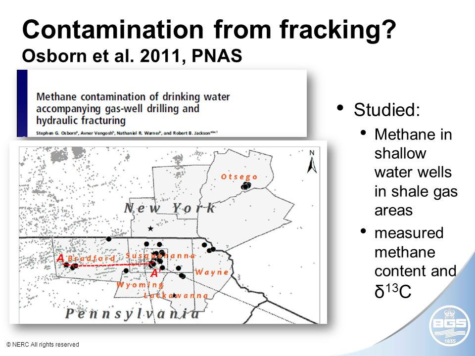 © NERC All rights reserved Contamination from fracking.