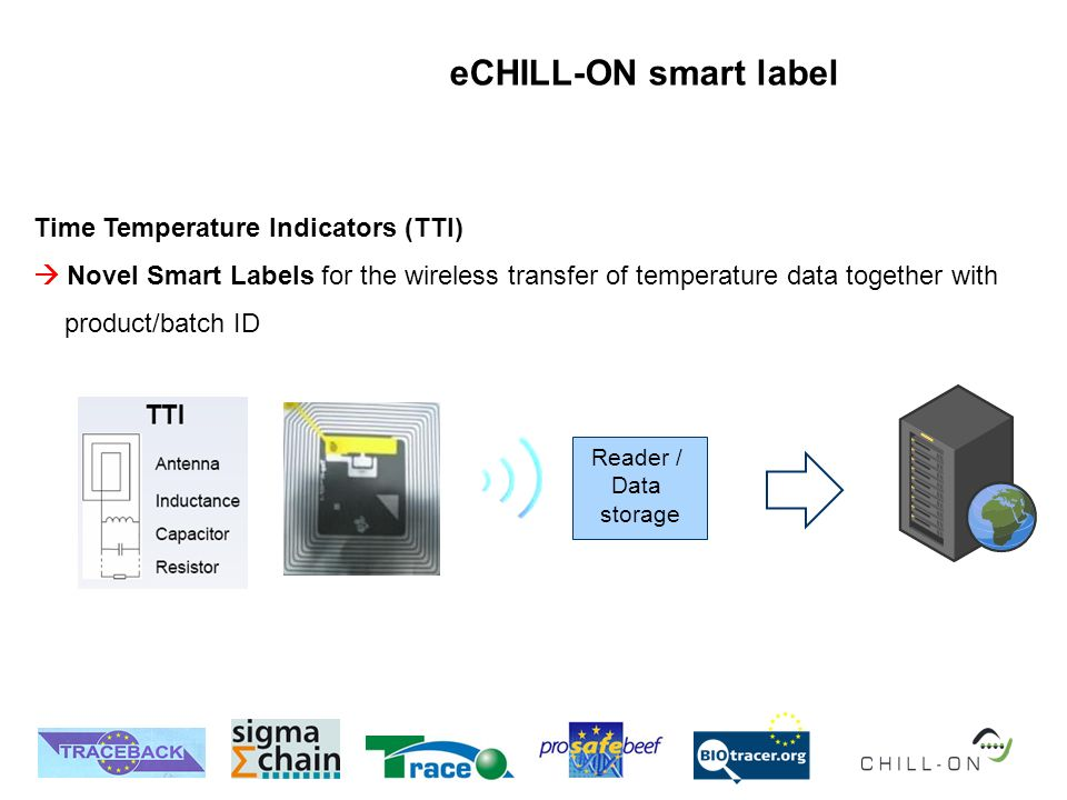 eCHILL-ON smart label Time Temperature Indicators (TTI) Novel Smart Labels for the wireless transfer of temperature data together with product/batch ID Server Reader / Data storage
