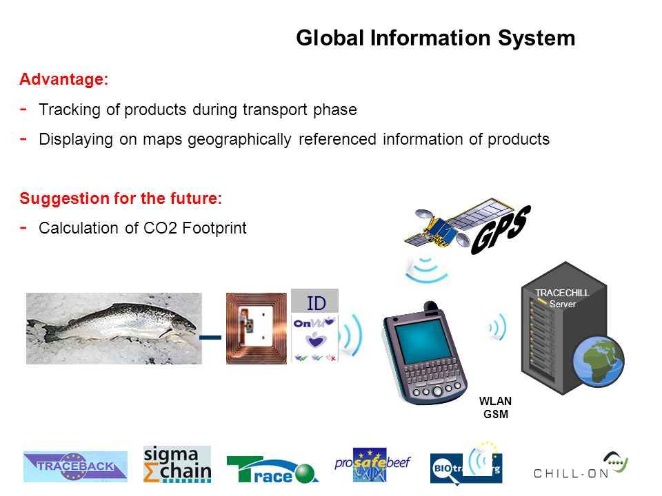 Global Information System Advantage: - Tracking of products during transport phase - Displaying on maps geographically referenced information of products Suggestion for the future: - Calculation of CO2 Footprint ID WLAN GSM TRACECHILL Server