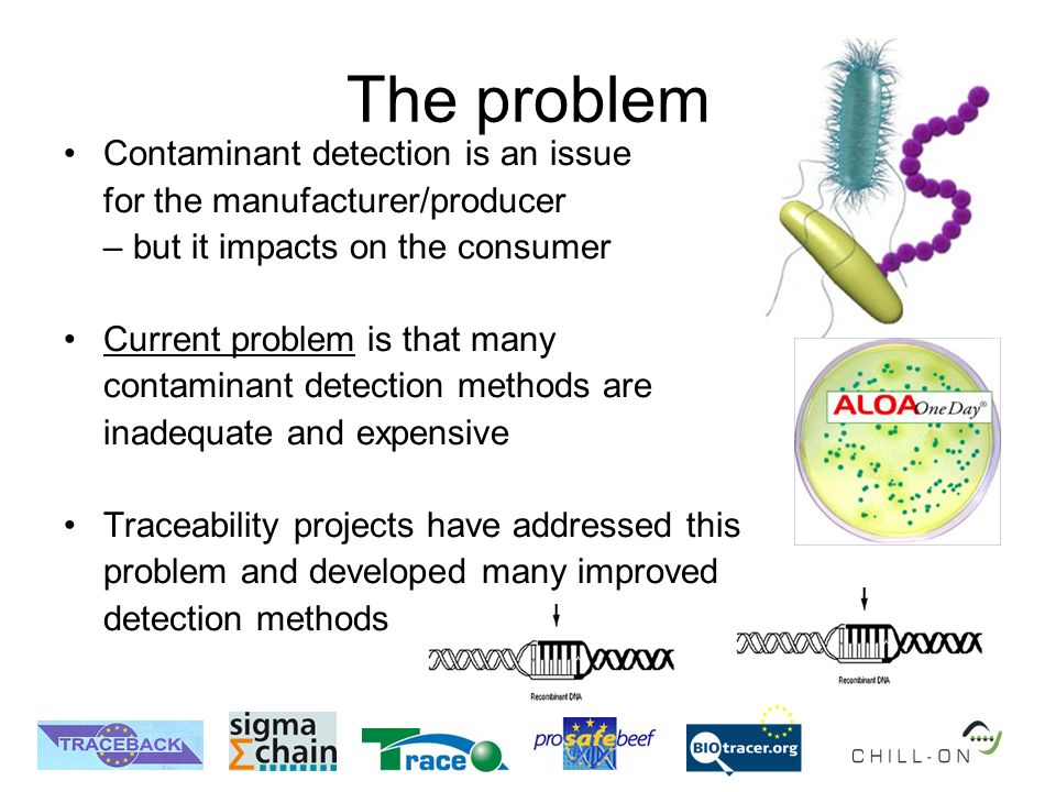 The problem Contaminant detection is an issue for the manufacturer/producer – but it impacts on the consumer Current problem is that many contaminant detection methods are inadequate and expensive Traceability projects have addressed this problem and developed many improved detection methods