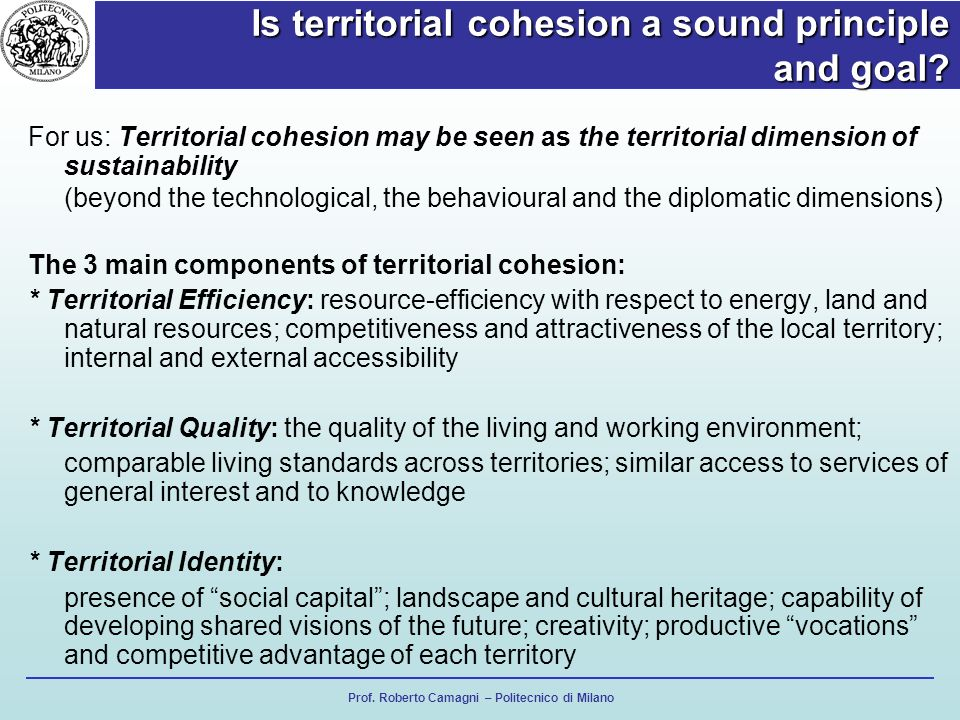 Is territorial cohesion a sound principle and goal.