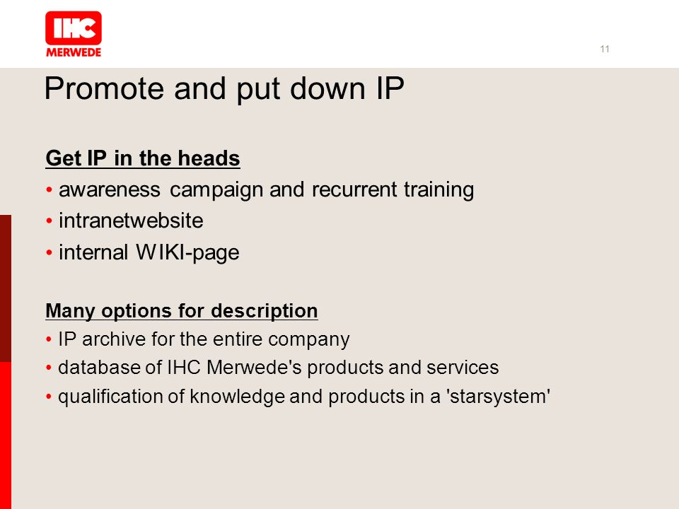11 Promote and put down IP Get IP in the heads awareness campaign and recurrent training intranetwebsite internal WIKI-page Many options for description IP archive for the entire company database of IHC Merwede s products and services qualification of knowledge and products in a starsystem