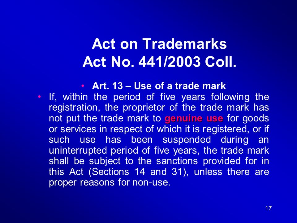 17 Act on Trademarks Act No. 441/2003 Coll. Art.