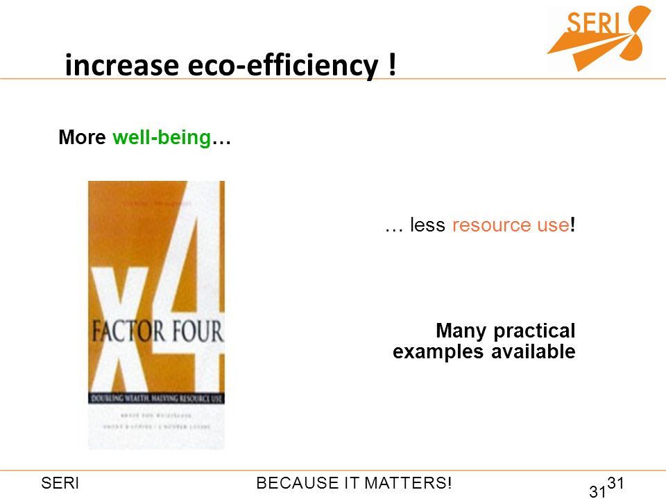 31BECAUSE IT MATTERS!SERI 31 More well-being… … less resource use.