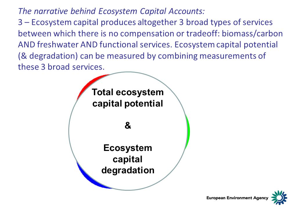 The narrative behind Ecosystem Capital Accounts: 3 – Ecosystem capital produces altogether 3 broad types of services between which there is no compensation or tradeoff: biomass/carbon AND freshwater AND functional services.