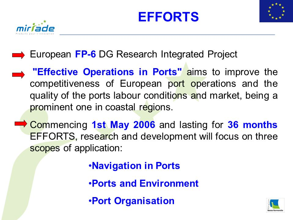 European FP-6 DG Research Integrated Project Effective Operations in Ports aims to improve the competitiveness of European port operations and the quality of the ports labour conditions and market, being a prominent one in coastal regions.