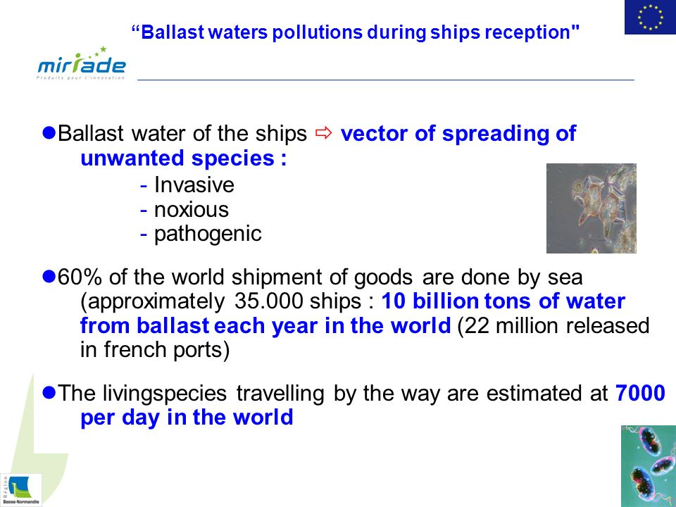 Ballast water of the ships vector of spreading of unwanted species : - Invasive - noxious - pathogenic 60% of the world shipment of goods are done by sea (approximately 35.000 ships : 10 billion tons of water from ballast each year in the world (22 million released in french ports) The livingspecies travelling by the way are estimated at 7000 per day in the world Ballast waters pollutions during ships reception