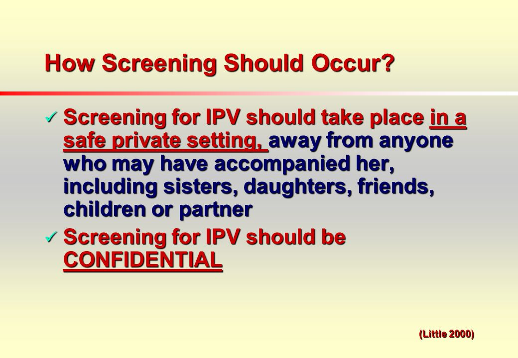 How Screening Should Occur.