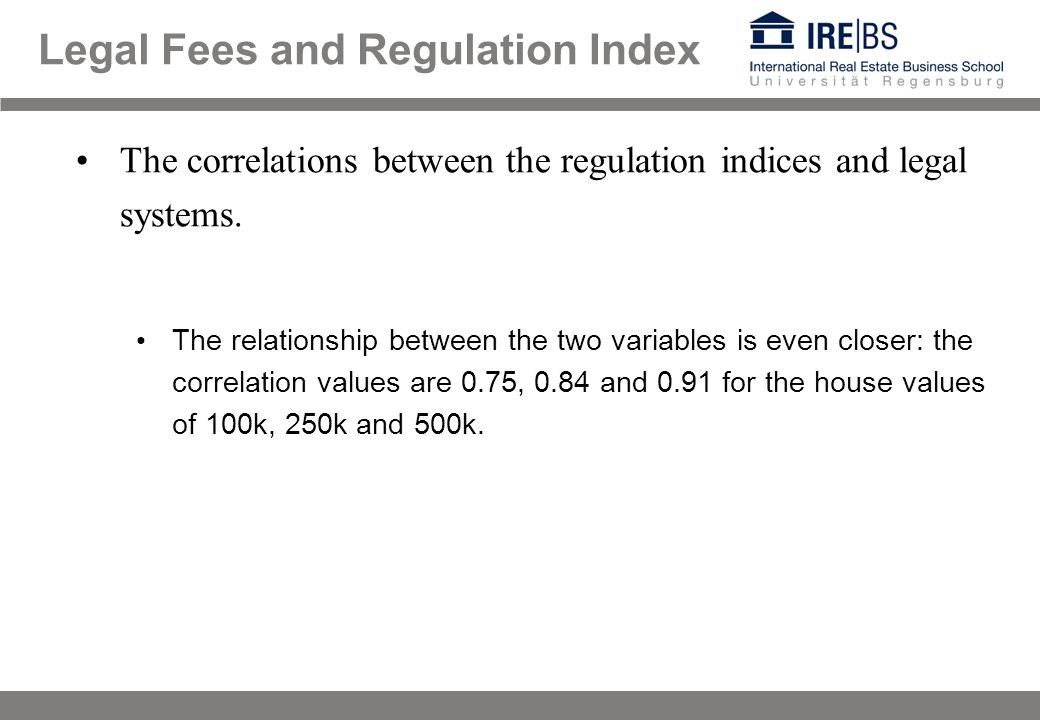 The correlations between the regulation indices and legal systems.
