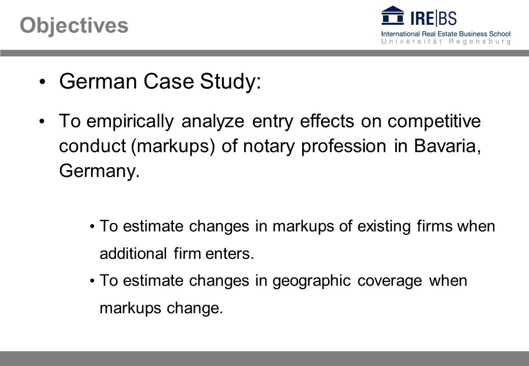 German Case Study: To empirically analyze entry effects on competitive conduct (markups) of notary profession in Bavaria, Germany.