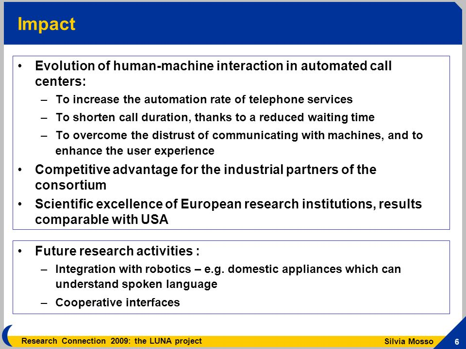 Silvia Mosso 6 Research Connection 2009: the LUNA project Impact Evolution of human-machine interaction in automated call centers: –To increase the automation rate of telephone services –To shorten call duration, thanks to a reduced waiting time –To overcome the distrust of communicating with machines, and to enhance the user experience Competitive advantage for the industrial partners of the consortium Scientific excellence of European research institutions, results comparable with USA Future research activities : –Integration with robotics – e.g.