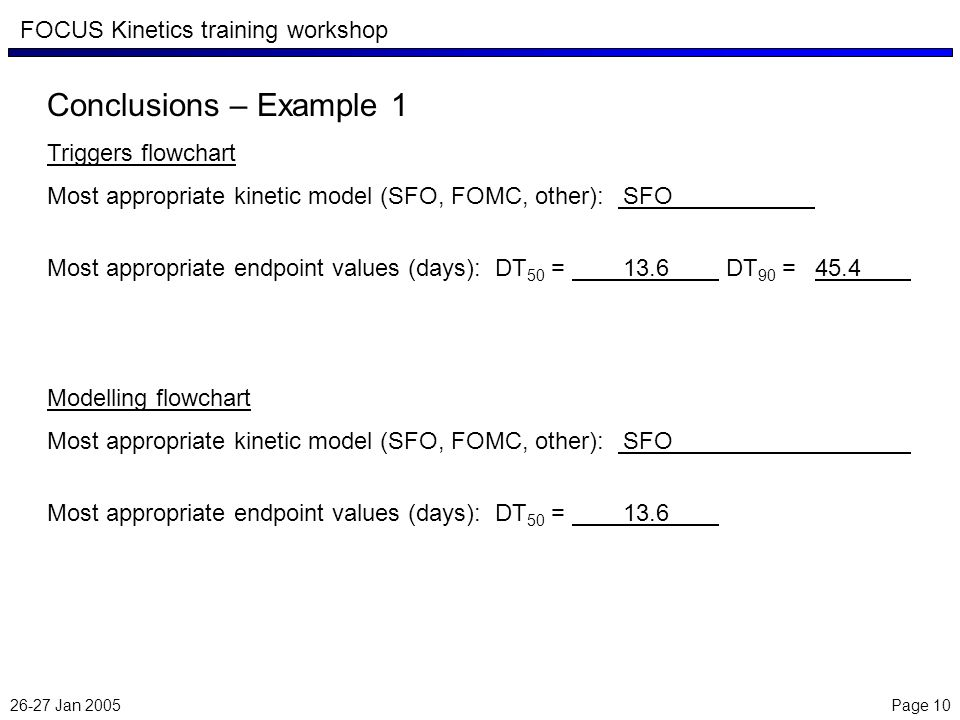 26-27 Jan 2005 Page 10 FOCUS Kinetics training workshop Conclusions – Example 1 Triggers flowchart Most appropriate kinetic model (SFO, FOMC, other): SFO Most appropriate endpoint values (days): DT 50 = 13.6 DT 90 = 45.4 Modelling flowchart Most appropriate kinetic model (SFO, FOMC, other): SFO Most appropriate endpoint values (days): DT 50 = 13.6