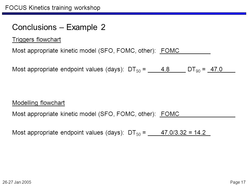 26-27 Jan 2005 Page 17 FOCUS Kinetics training workshop Conclusions – Example 2 Triggers flowchart Most appropriate kinetic model (SFO, FOMC, other): FOMC Most appropriate endpoint values (days): DT 50 = 4.8 DT 90 = 47.0 Modelling flowchart Most appropriate kinetic model (SFO, FOMC, other): FOMC Most appropriate endpoint values (days): DT 50 = 47.0/3.32 = 14.2
