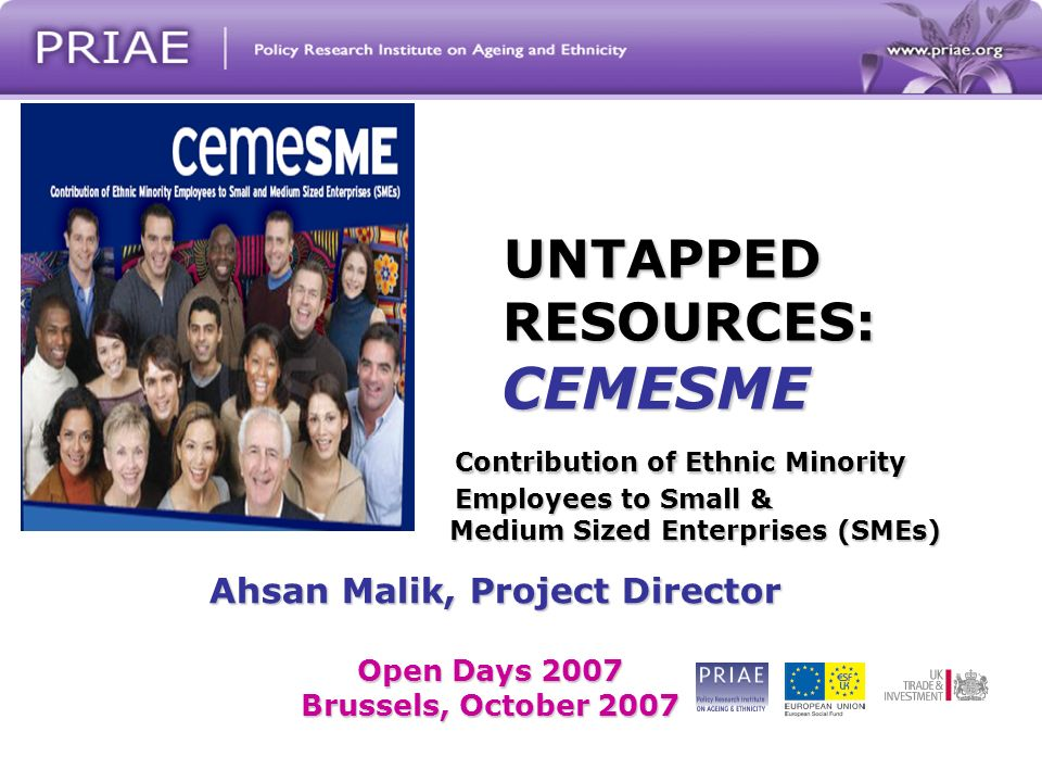 UNTAPPED RESOURCES: CEMESME Contribution of Ethnic Minority Employees to Small & Medium Sized Enterprises (SMEs) Ahsan Malik, Project Director Ahsan Malik, Project Director Open Days 2007 Brussels, October 2007