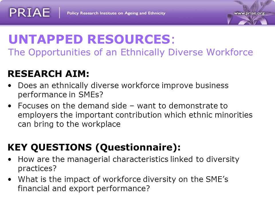 UNTAPPED RESOURCES: The Opportunities of an Ethnically Diverse Workforce RESEARCH AIM: Does an ethnically diverse workforce improve business performance in SMEs.