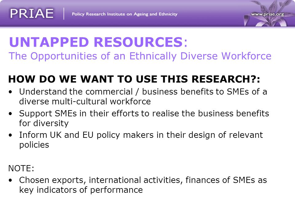 UNTAPPED RESOURCES: The Opportunities of an Ethnically Diverse Workforce HOW DO WE WANT TO USE THIS RESEARCH : Understand the commercial / business benefits to SMEs of a diverse multi-cultural workforce Support SMEs in their efforts to realise the business benefits for diversity Inform UK and EU policy makers in their design of relevant policies NOTE: Chosen exports, international activities, finances of SMEs as key indicators of performance