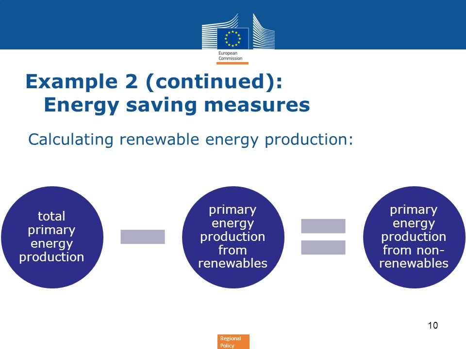 Regional Policy Calculating renewable energy production: Example 2 (continued): Energy saving measures total primary energy production primary energy production from renewables primary energy production from non- renewables 10