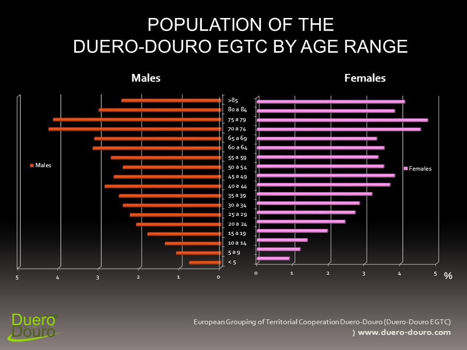POPULATION OF THE DUERO-DOURO EGTC BY AGE RANGE European Grouping of Territorial Cooperation Duero-Douro (Duero-Douro EGTC) ) www.duero-douro.com