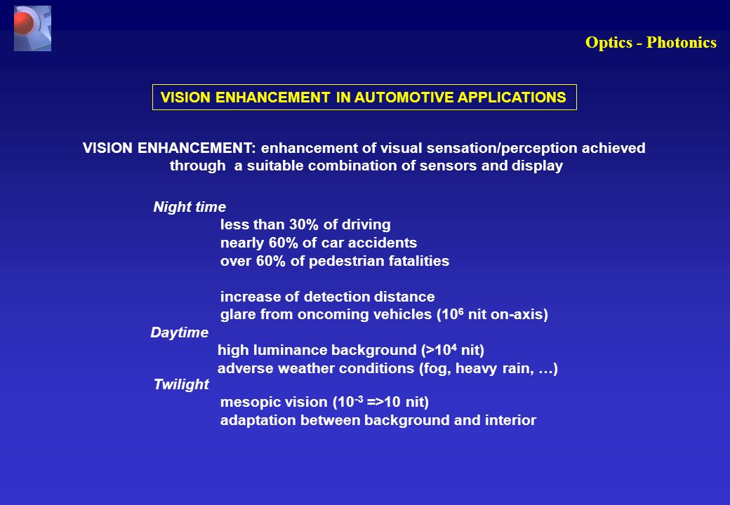 Optics - Photonics VISION ENHANCEMENT IN AUTOMOTIVE APPLICATIONS VISION ENHANCEMENT: enhancement of visual sensation/perception achieved through a suitable combination of sensors and display Night time less than 30% of driving nearly 60% of car accidents over 60% of pedestrian fatalities increase of detection distance glare from oncoming vehicles (10 6 nit on-axis) Daytime high luminance background (>10 4 nit) adverse weather conditions (fog, heavy rain, …) Twilight mesopic vision (10 -3 =>10 nit) adaptation between background and interior