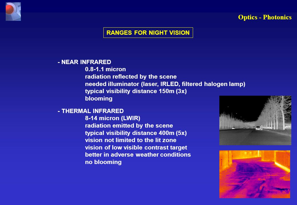 Optics - Photonics RANGES FOR NIGHT VISION - NEAR INFRARED 0.8-1.1 micron radiation reflected by the scene needed illuminator (laser, IRLED, filtered halogen lamp) typical visibility distance 150m (3x) blooming - THERMAL INFRARED 8-14 micron (LWIR) radiation emitted by the scene typical visibility distance 400m (5x) vision not limited to the lit zone vision of low visible contrast target better in adverse weather conditions no blooming