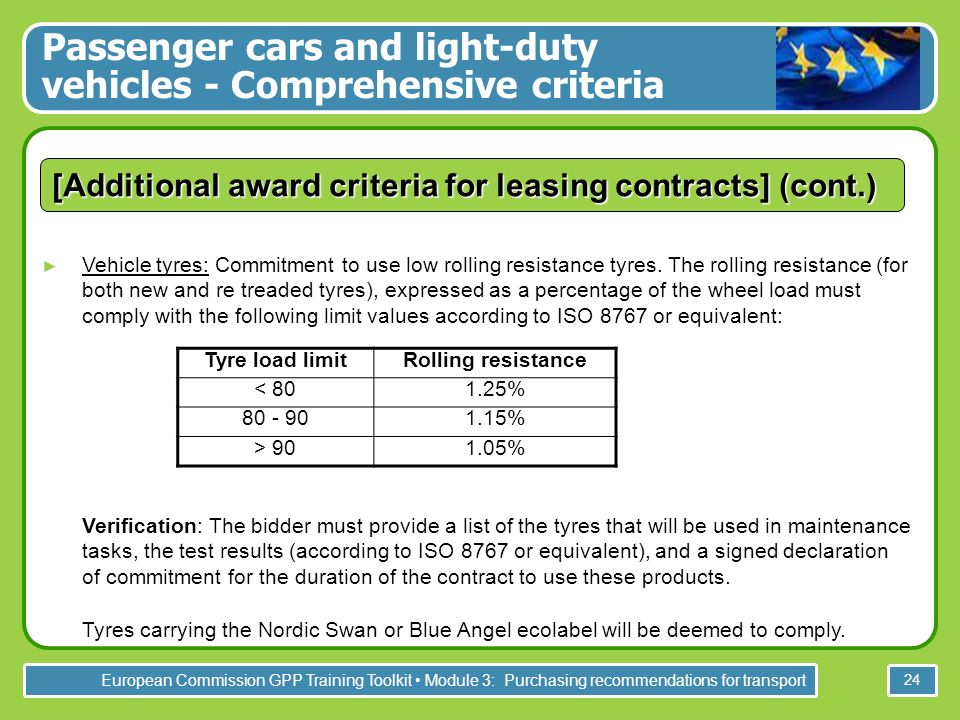 European Commission GPP Training Toolkit Module 3: Purchasing recommendations for transport 24 [Additional award criteria for leasing contracts] (cont.) Vehicle tyres: Commitment to use low rolling resistance tyres.