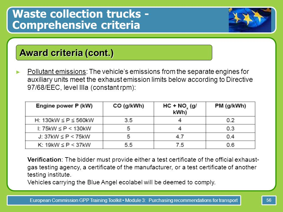 European Commission GPP Training Toolkit Module 3: Purchasing recommendations for transport 56 Award criteria (cont.) Pollutant emissions: The vehicles emissions from the separate engines for auxiliary units meet the exhaust emission limits below according to Directive 97/68/EEC, level IIIa (constant rpm): Verification: The bidder must provide either a test certificate of the official exhaust- gas testing agency, a certificate of the manufacturer, or a test certificate of another testing institute.