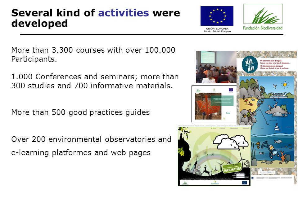 Several kind of activities were developed More than 3.300 courses with over 100.000 Participants.