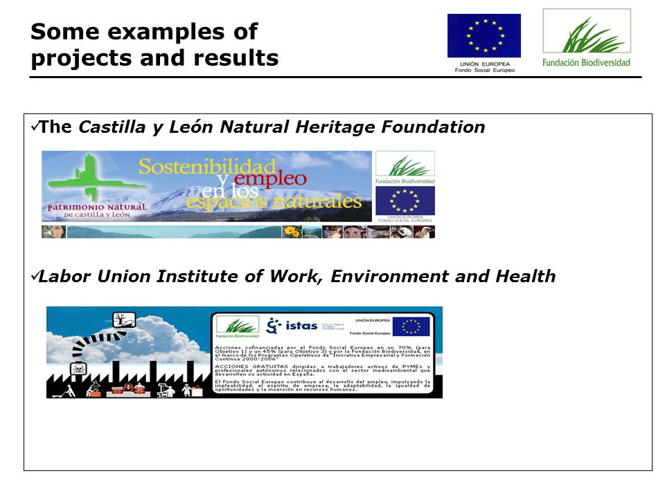 The Castilla y León Natural Heritage Foundation Labor Union Institute of Work, Environment and Health Some examples of projects and results