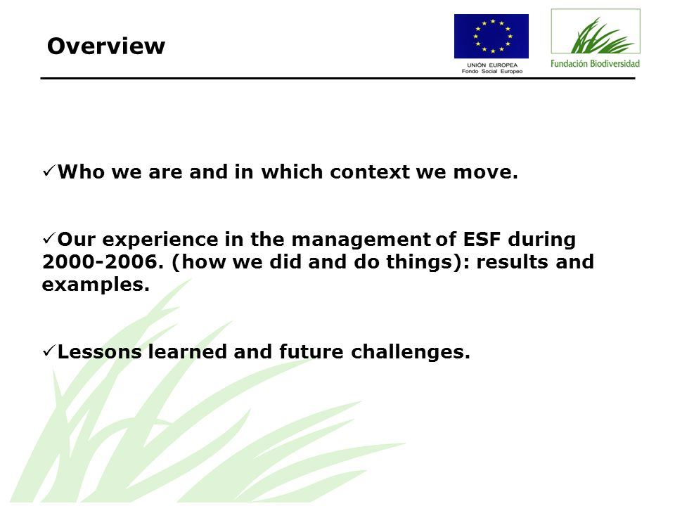 Who we are and in which context we move. Our experience in the management of ESF during 2000-2006.