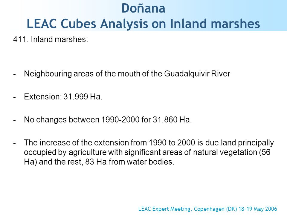 Doñana LEAC Cubes Analysis on Inland marshes 411.