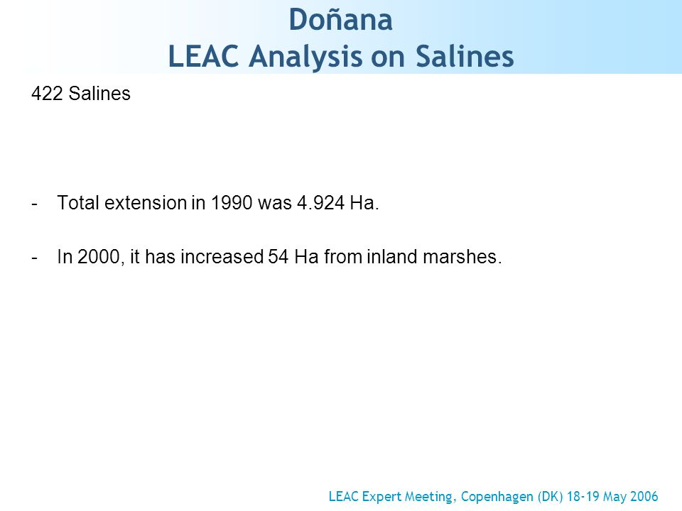 Doñana LEAC Analysis on Salines 422 Salines -Total extension in 1990 was 4.924 Ha.