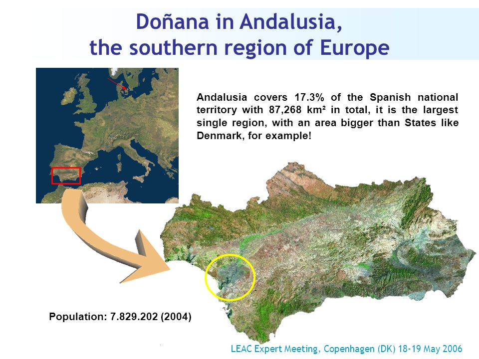 Doñana in Andalusia, the southern region of Europe Andalusia covers 17.3% of the Spanish national territory with 87,268 km² in total, it is the largest single region, with an area bigger than States like Denmark, for example.