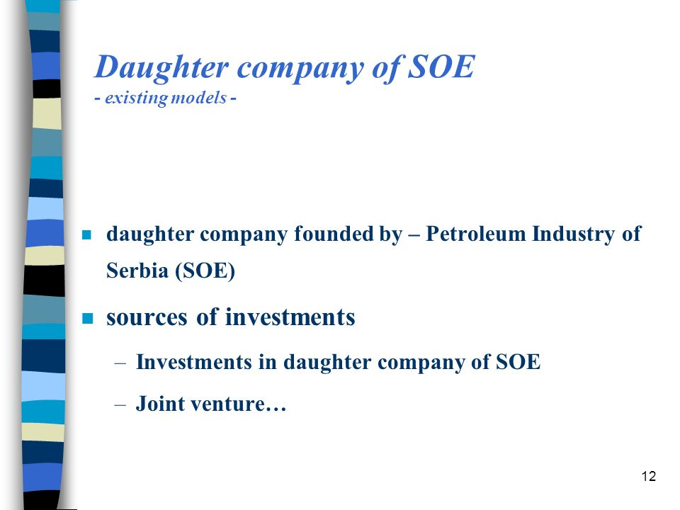 12 Daughter company of SOE - existing models - n daughter company founded by – Petroleum Industry of Serbia (SOE) n sources of investments –Investments in daughter company of SOE –Joint venture…