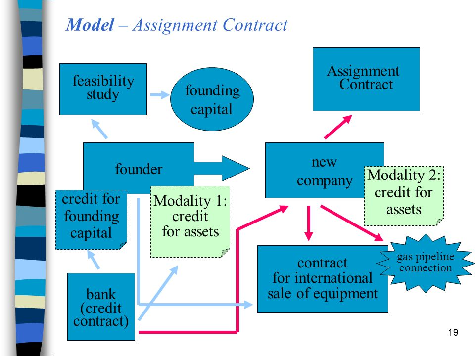 19 Model – Assignment Contract founder new company bank (credit contract) feasibility study Assignment Contract contract for international sale of equipment founding capital credit for founding capital Modality 1: credit for assets Modality 2: credit for assets gas pipeline connection