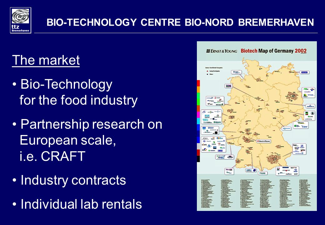 BIO-TECHNOLOGY CENTRE BIO-NORD BREMERHAVEN The market Bio-Technology for the food industry Partnership research on European scale, i.e.