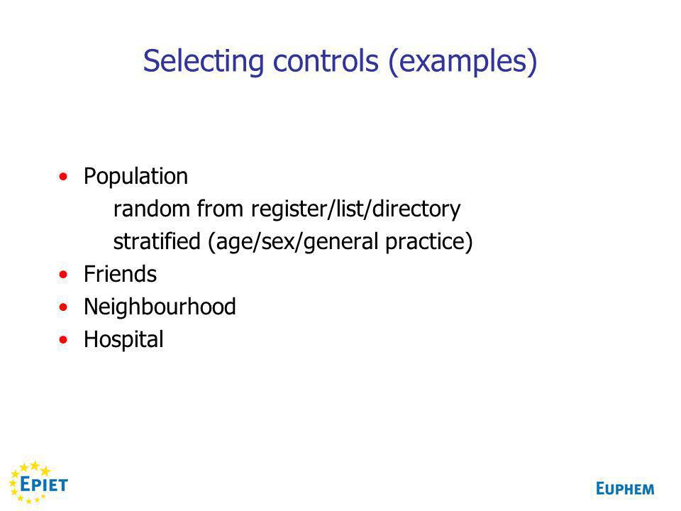 Selecting controls (examples) Population random from register/list/directory stratified (age/sex/general practice) Friends Neighbourhood Hospital