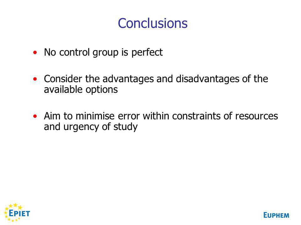 Conclusions No control group is perfect Consider the advantages and disadvantages of the available options Aim to minimise error within constraints of resources and urgency of study