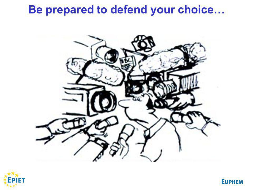 Be prepared to defend your choice…
