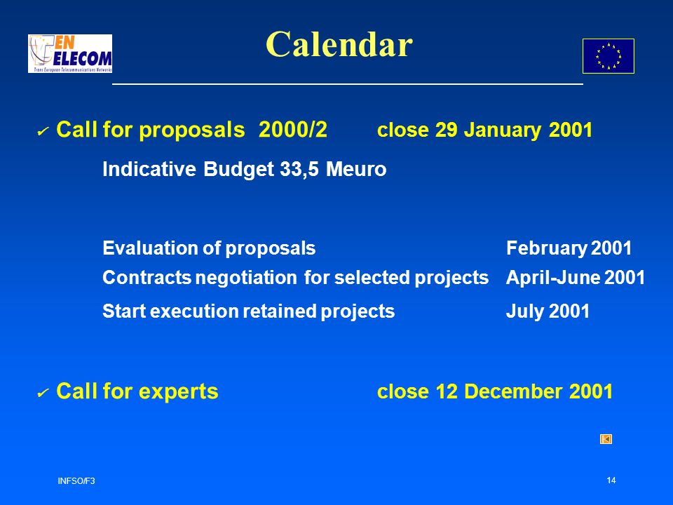 INFSO/F3 14 Calendar Call for proposals 2000/2 close 29 January 2001 Indicative Budget 33,5 Meuro Evaluation of proposals February 2001 Contracts negotiation for selected projectsApril-June 2001 Start execution retained projects July 2001 Call for experts close 12 December 2001
