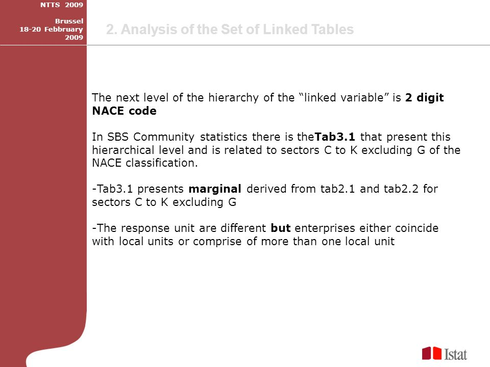 The next level of the hierarchy of the linked variable is 2 digit NACE code In SBS Community statistics there is theTab3.1 that present this hierarchical level and is related to sectors C to K excluding G of the NACE classification.