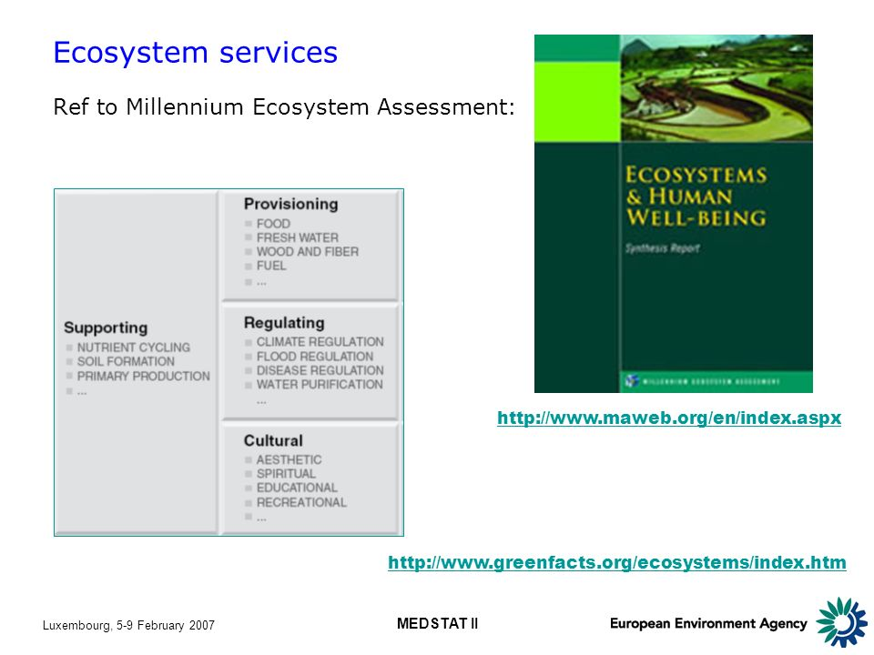 Luxembourg, 5-9 February 2007 MEDSTAT II Ecosystem services Ref to Millennium Ecosystem Assessment: http://www.maweb.org/en/index.aspx http://www.greenfacts.org/ecosystems/index.htm