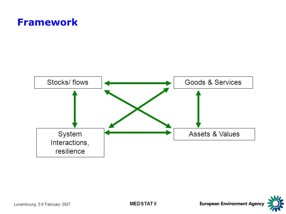 Luxembourg, 5-9 February 2007 MEDSTAT II Stocks/ flows Assets & Values Goods & Services System Interactions, resilience Framework