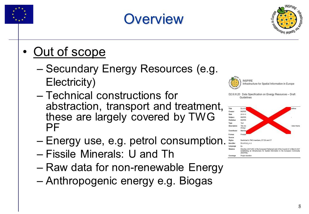 8 Overview Out of scope –Secundary Energy Resources (e.g.