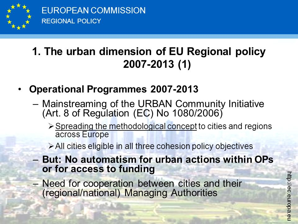 REGIONAL POLICY EUROPEAN COMMISSION   1.