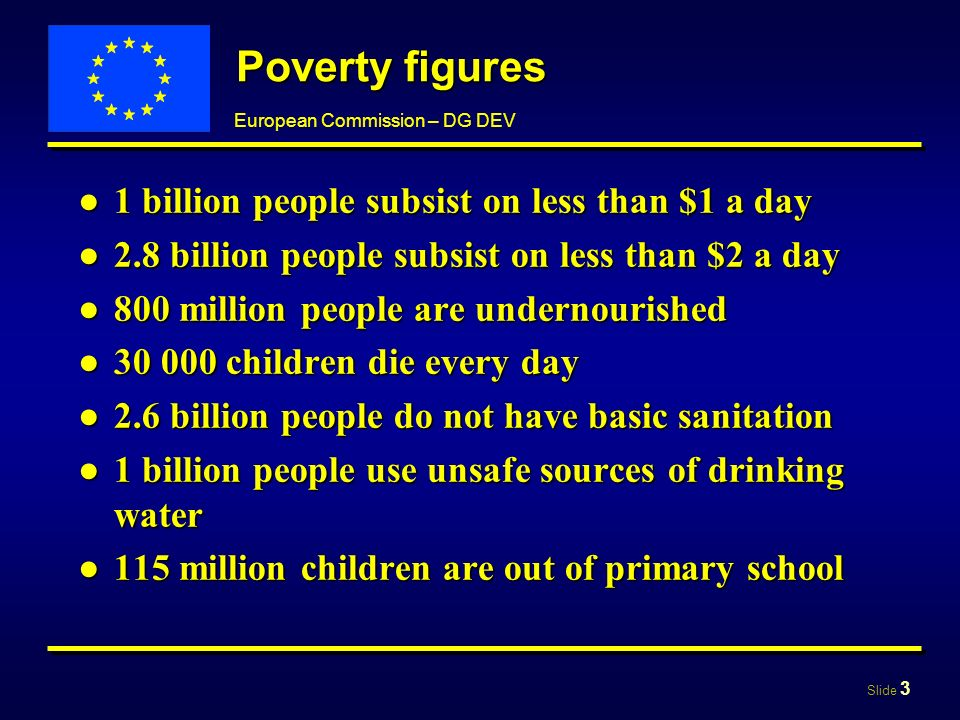 Slide 3 European Commission – DG DEV Poverty figures 1 billion people subsist on less than $1 a day1 billion people subsist on less than $1 a day 2.8 billion people subsist on less than $2 a day2.8 billion people subsist on less than $2 a day 800 million people are undernourished800 million people are undernourished 30 000 children die every day30 000 children die every day 2.6 billion people do not have basic sanitation2.6 billion people do not have basic sanitation 1 billion people use unsafe sources of drinking water1 billion people use unsafe sources of drinking water 115 million children are out of primary school115 million children are out of primary school