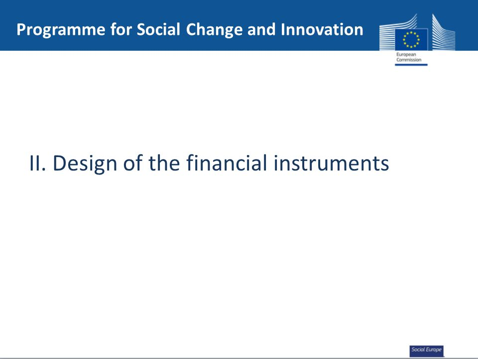 II. Design of the financial instruments Programme for Social Change and Innovation