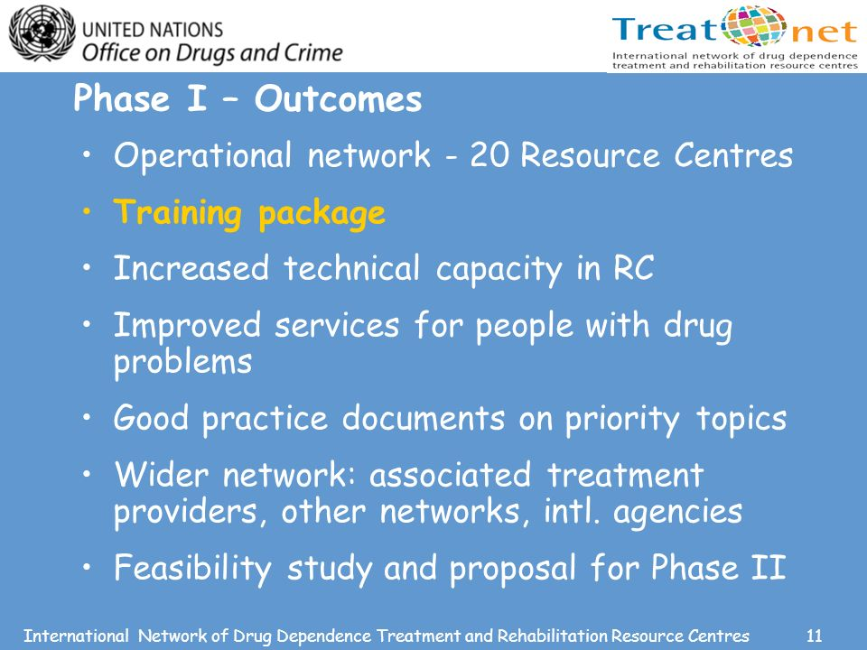 11International Network of Drug Dependence Treatment and Rehabilitation Resource Centres Phase I – Outcomes Operational network - 20 Resource Centres Training package Increased technical capacity in RC Improved services for people with drug problems Good practice documents on priority topics Wider network: associated treatment providers, other networks, intl.